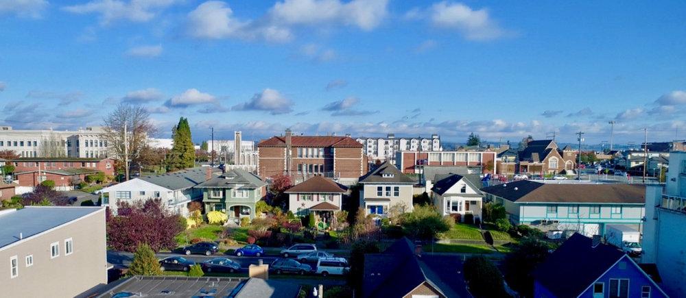 Everett's Bayside neighborhood; looking East from Grand Avenue.
