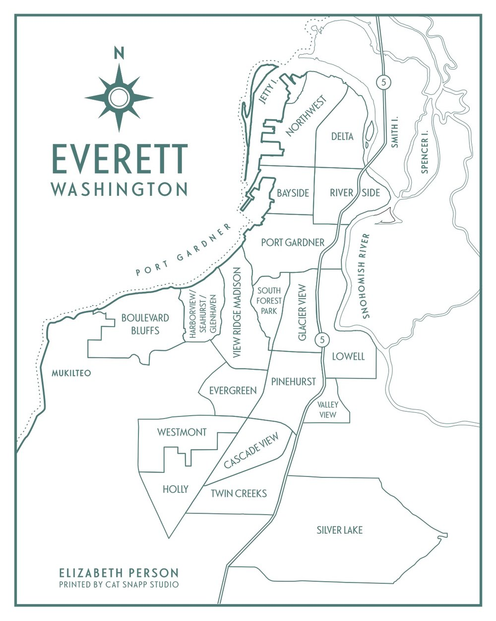 Everett Neighborhood Map by  Elizabeth Person Art & Design .