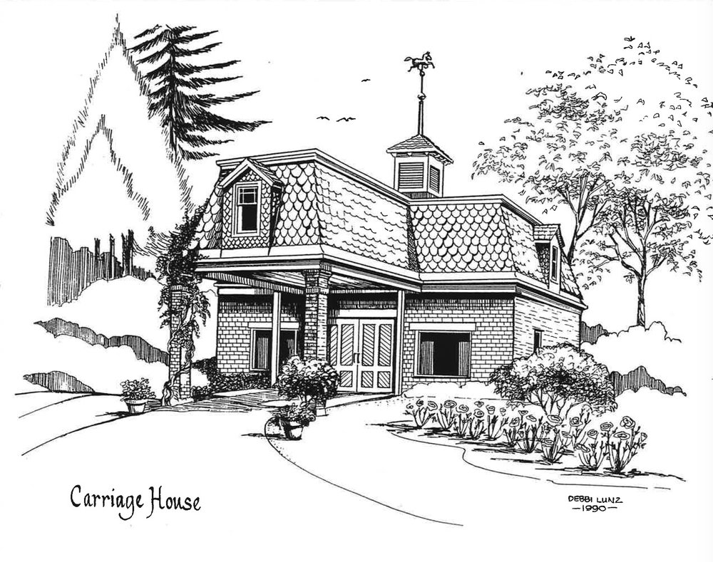 A line drawing of the Carriage House for the 1990s sales flyer.