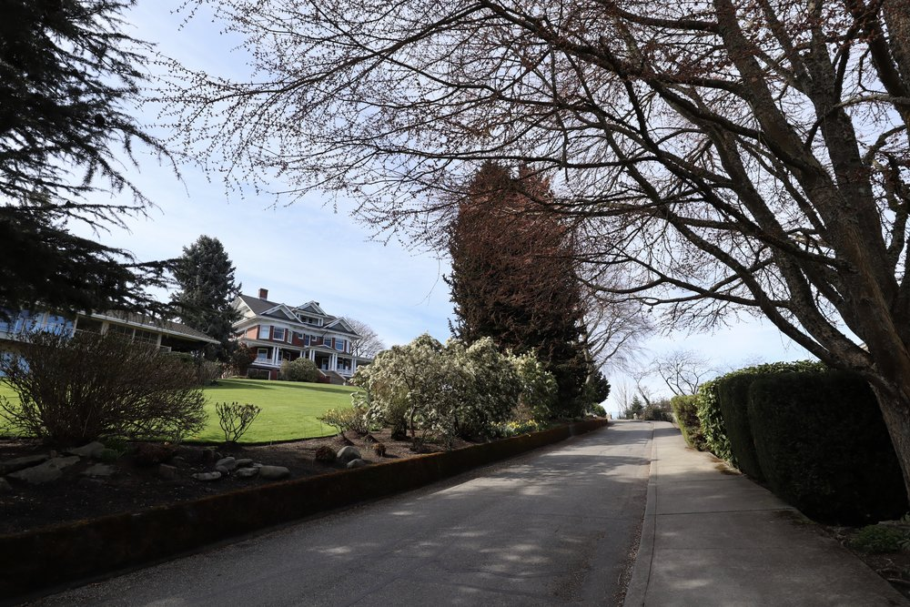 The narrow one-way street leading up to the mansion. Photo taken in 2019. Please note: the mansion is a private residence, and the road is intended for local traffic only.