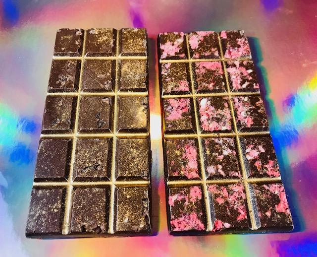 NEW Raw Veganic Nurturing Nirvana Dark + Tantric Rose Dark 24k Gold Chocolate Bars - Now available as a set or individually for limited time special pricing!