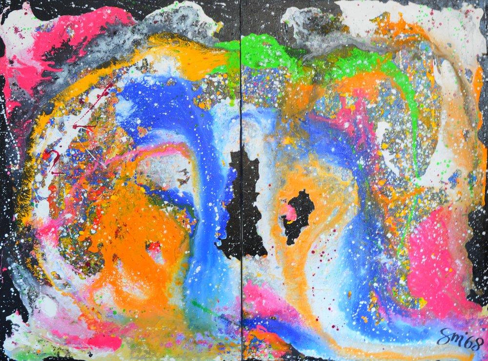 Große Galaxie Acryl auf Leinwand