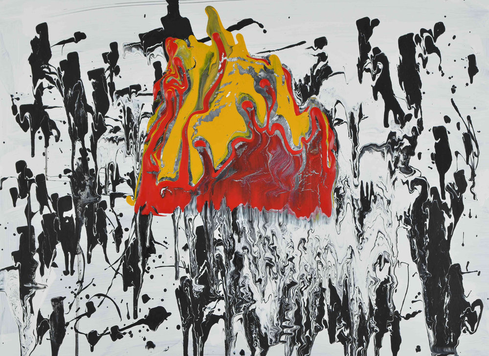 Feuerhut | Acryl auf Glas