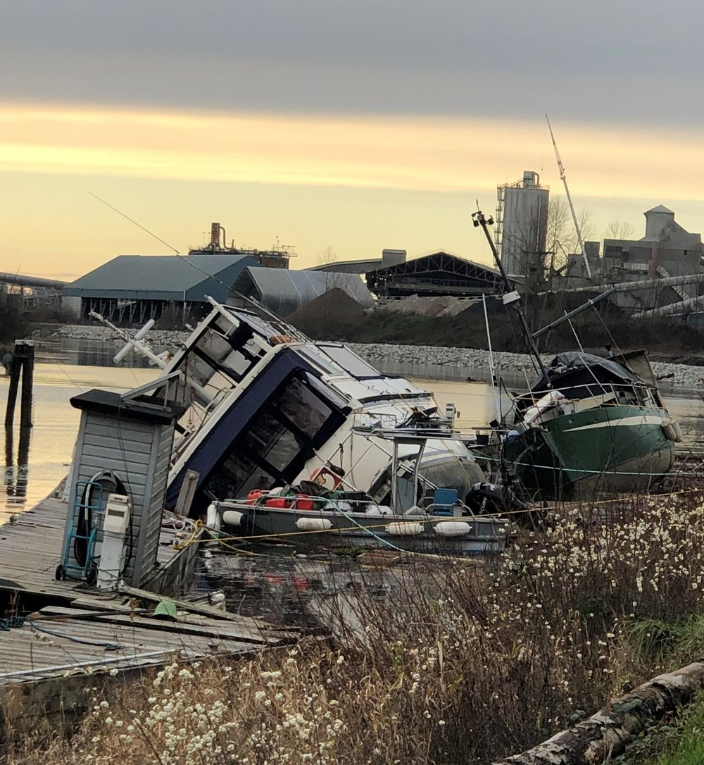 The results of an intense windstorm — without insurance the cost of righting and removing these vessels could easily cost the marina thousands of dollars