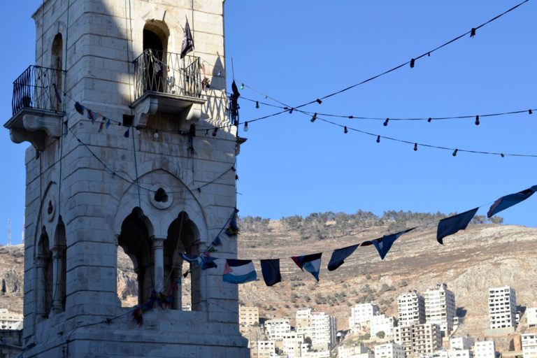 The minaret of the Great Mosque in Old City of Nablus.