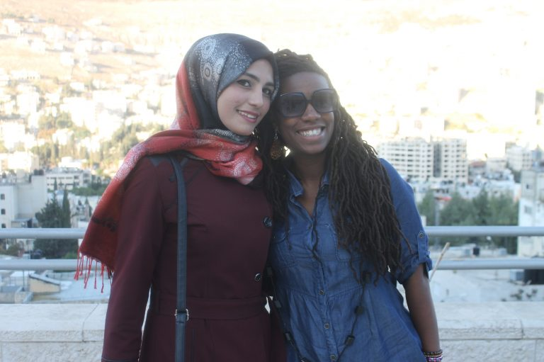 """""""It's so hard to say goodbye"""" … EFL fellow Mecca and Step II EFL student Khadijah embrace on the last day of class."""