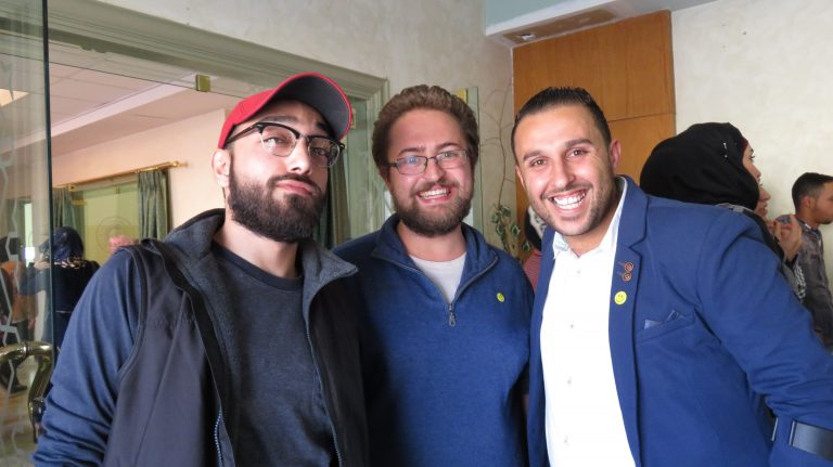 EFL Fellow Mike spends time with his Arabic instuctor, Bshara, and his EFL student, Rakan, during a celebration for the STEP! II English as a Foreign Language program