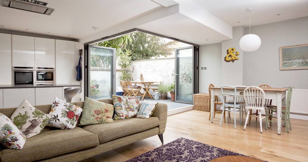 open plan living space with new enlarged terrace courtyard