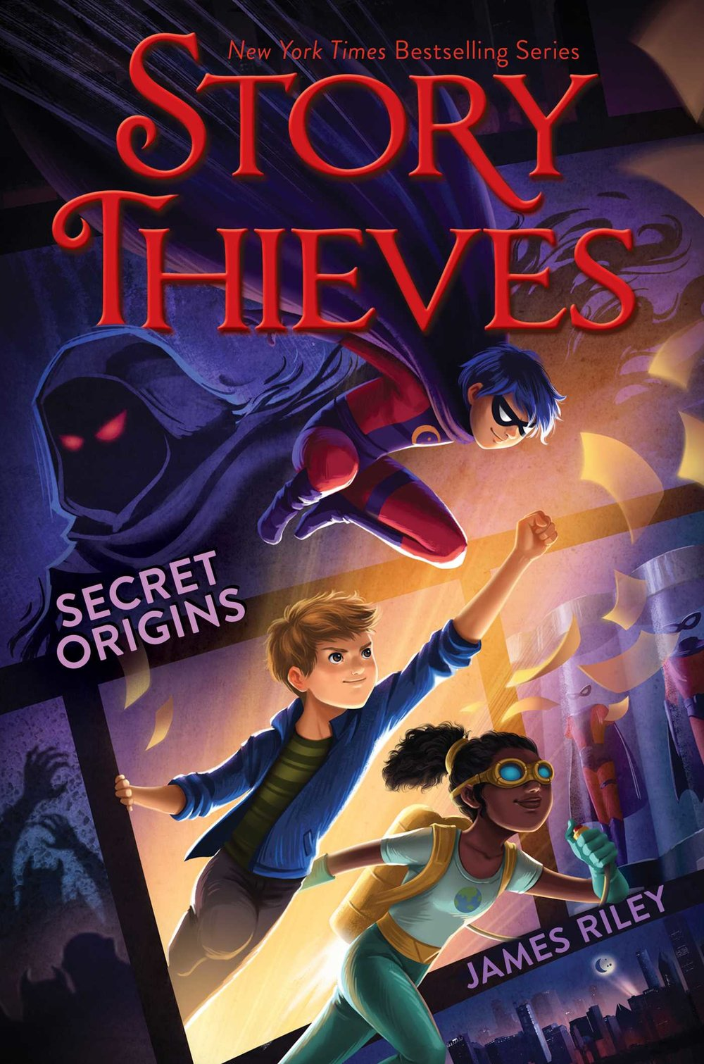 STORY THIEVES: SECRET ORIGINS (BOOK 3) - Owen and Bethany have sworn off jumping into books for good. But they didn't make any promises about not jumping through strange portals that lead to a comic book world.Jupiter City was once filled with brightly costumed superheroes and villains, but nowadays, there's nothing left but the Dark. Even the villains are terrified of the Dark's shadows, and most of the heroes have either disappeared or been lost to mind control. The one hero who might have stopped all of this, Doc Twilight, has been imprisoned by the Dark.But who is Doc Twilight really? And how can Bethany and Owen defeat the Dark without superpowers of their own? They'll definitely need the help of some old friends and new allies to bring the light back to Jupiter City, and find out the truth behind the Dark.It all comes back to Bethany's own secret origins. What really happened when her fictional father disappeared years ago? Who is Nobody, and why is he writing these Story Thieves books? And what kind of supervillain name is The Rotten Banana?BUY: AMAZON | BARNES & NOBLE | INDEPENDENT STORES