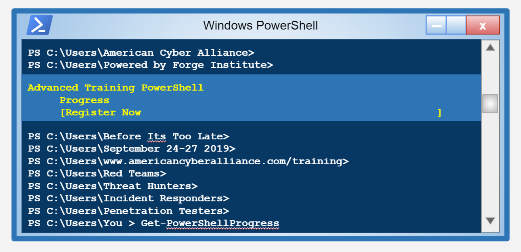 ACA offers PowerShell bootcamp Sept  24-27 — American Cyber Alliance