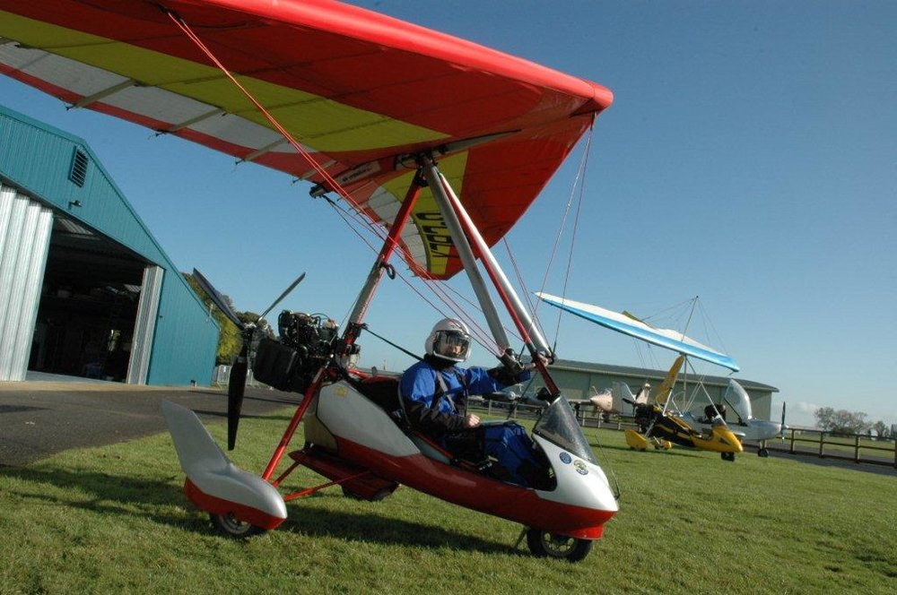 """Ian Parker preparing to depart from the Club apron in his Air Creation """"Kiss 400"""""""