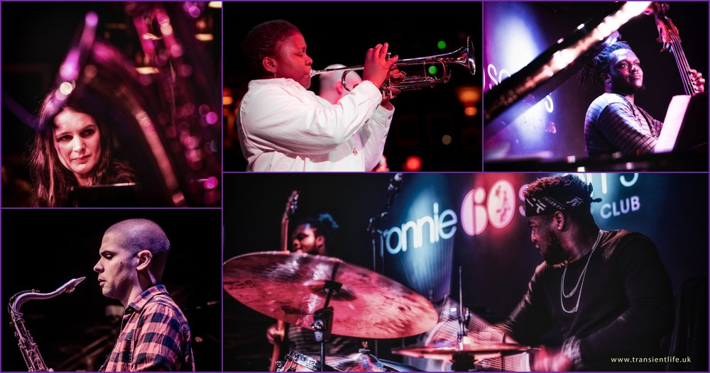 From top left, Sarah Tandy, piano, Sheila Maurice-Grey, trumpet, Mutale Chashi, double bass, Femi Koleoso, drums, Binker Golding, tenor sax