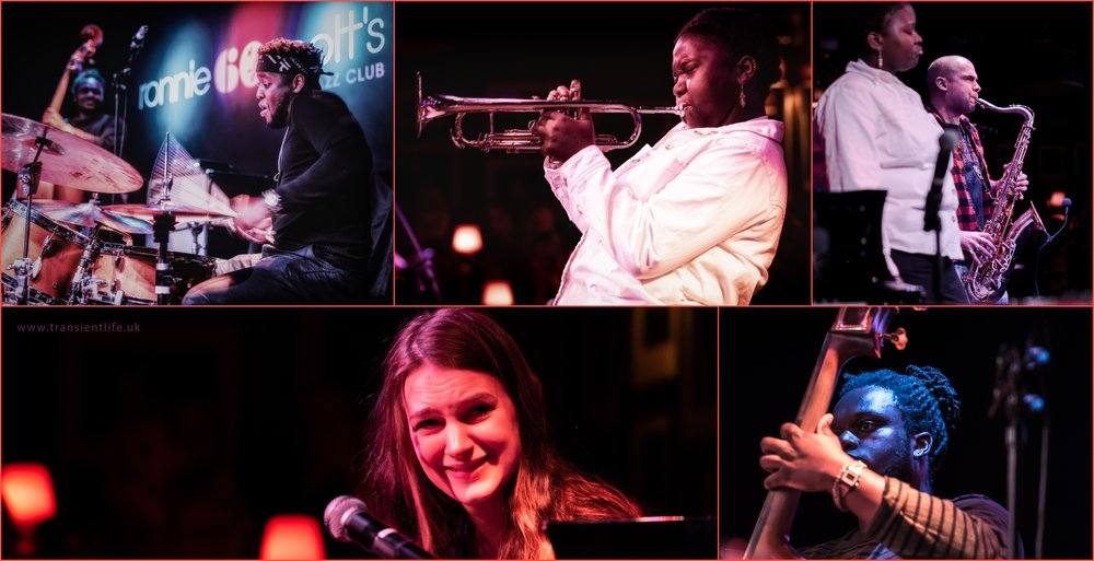 From top left, Femi Koleoso, drums, Sheila Maurice-Grey, trumpet, Binker Golding, tenor sax, Sarah Tandy, piano, Mutale Chashi, double bass,