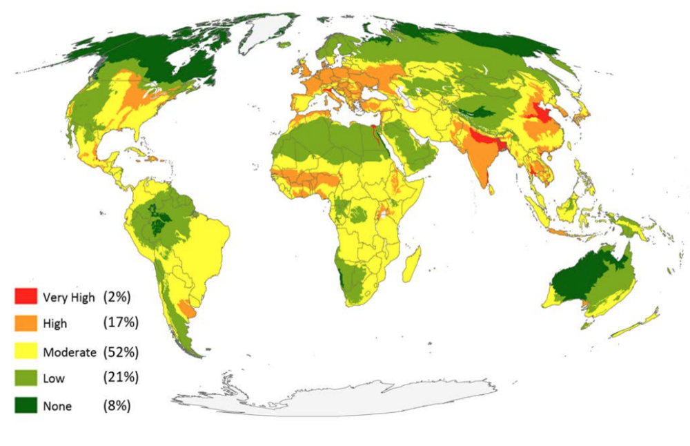 Source   : Managing the middle: A shift in conservation priorities based on the global human modification gradient