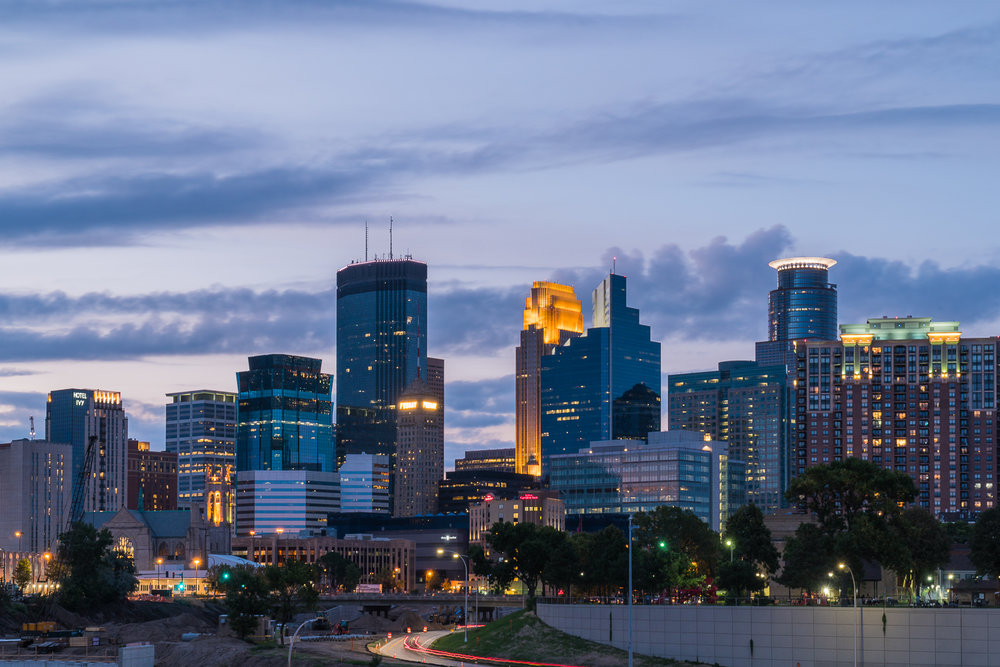 Downtown Minneapolis skyline from the south amidst major reconstruction of Interstate 35W, a north-south artery through the center of the city.