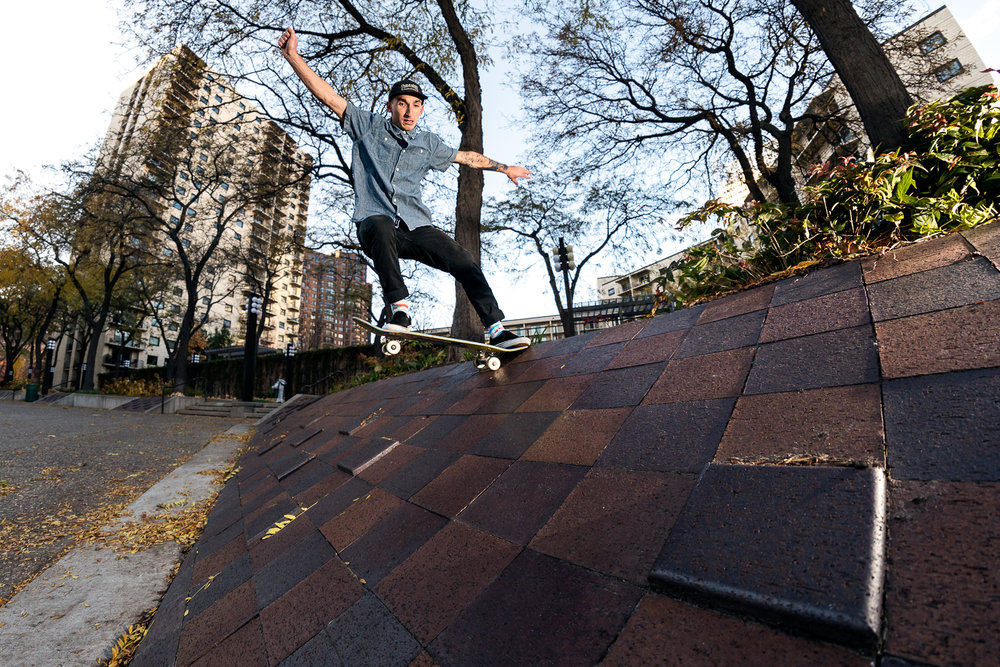 Andrew Helminiak frontside tailslides through the Jenga board in Loring Park.