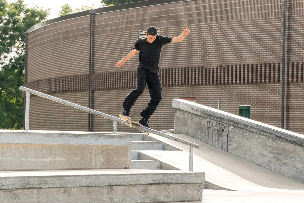 Professional skateboarder Ryan Lay puts down a huge frontside lipslide at the Etnies' Chris Joslin Pro Model shoe wear test.