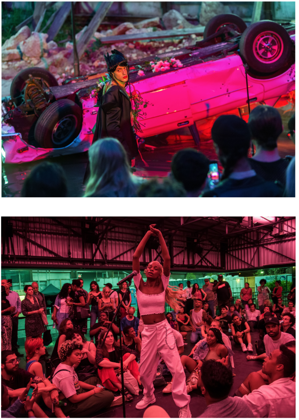 May 2018,  A Prelude to The Shed , The Shed's first public program, in a temporary structure at 10th Avenue and 31st Street in Manhattan, one block from its permanent home opening in spring 2019. Above: ARCA. © Kate Glicksberg/The Shed. Photo: Kate Glicksberg; Below: ABRA. Image © Stephanie Berger/The Shed. Photo: Stephanie Berger. Photos borrowed from theShed.org as reference only.