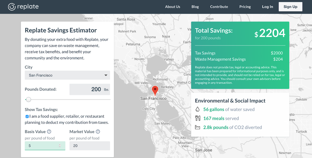 Replate Savings Estimator  is interactive and can help businesses calculate potential savings.