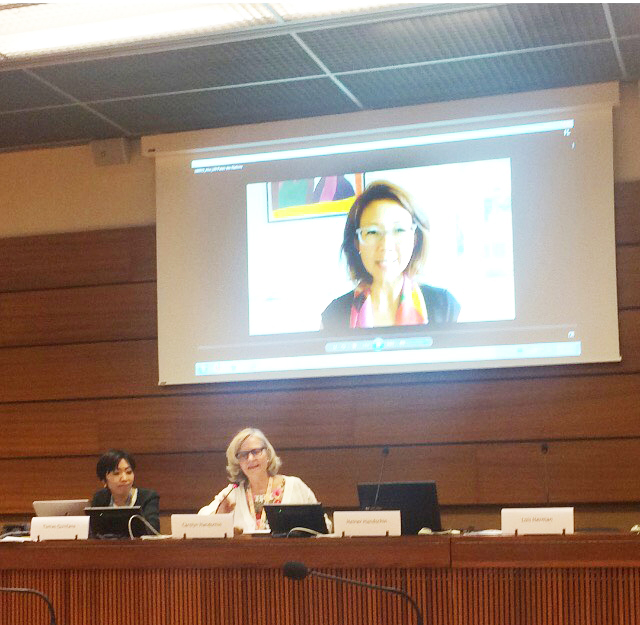 Assistant to the Special Rapporteur, WFWPI UN Office Director, Christine Ahn on screen (Director of Women Across the DMZ)