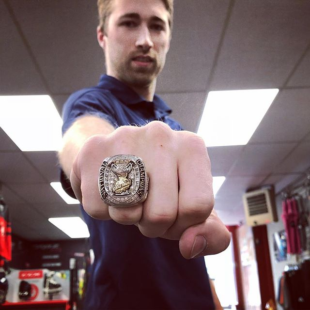Matt came in today showing off his new bling. He was part of the Stoney Creek Generals team that won the 2018 Allan Cup in Rosetown, Sask. The ring features the Humboldt ribbon as a tribute to the Bronco's and a list of all the players initials who have passed, on the inside of the ring. #HumboldtStrong