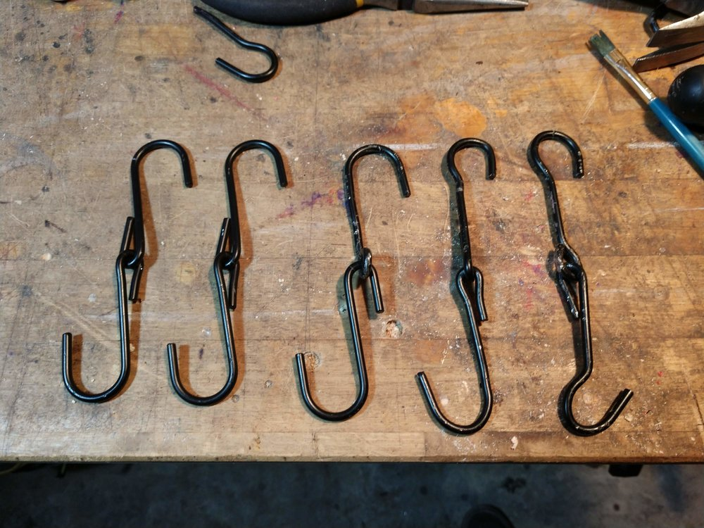 Here are some hooks I had to customize for a particularly odd fitting.
