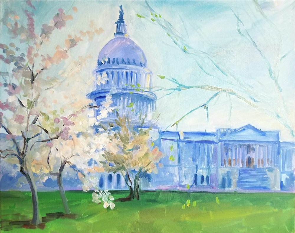 "Painting of a Capitol in spring. Oil on canvas, 16""x20"". This building represents history, the past; yet agreements (good or bad) for the future are happening there. In contrast, spring symbolizes new beginnings. New leaves and flowers are growing on old branches."