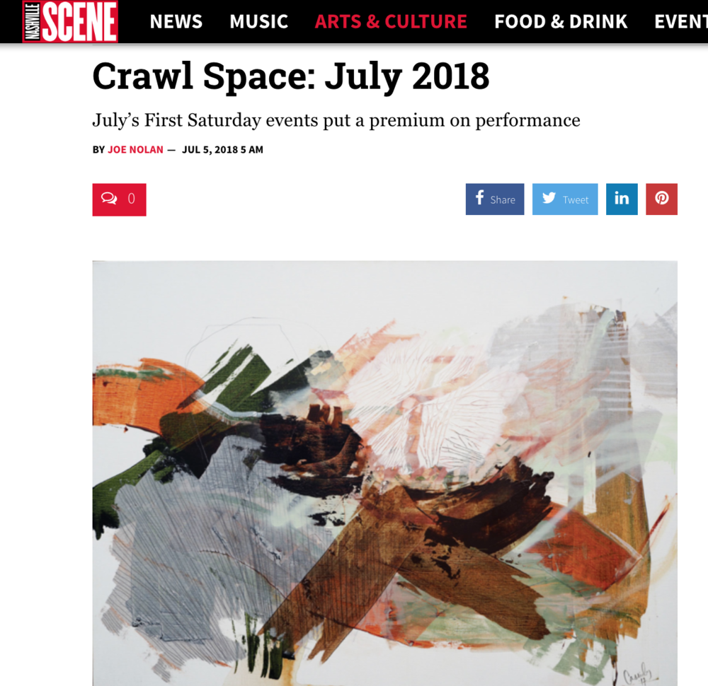 Cassidy Cole Solo Exhibition Featured in Nashville Scene's Crawl Space Spotlight - July 2018
