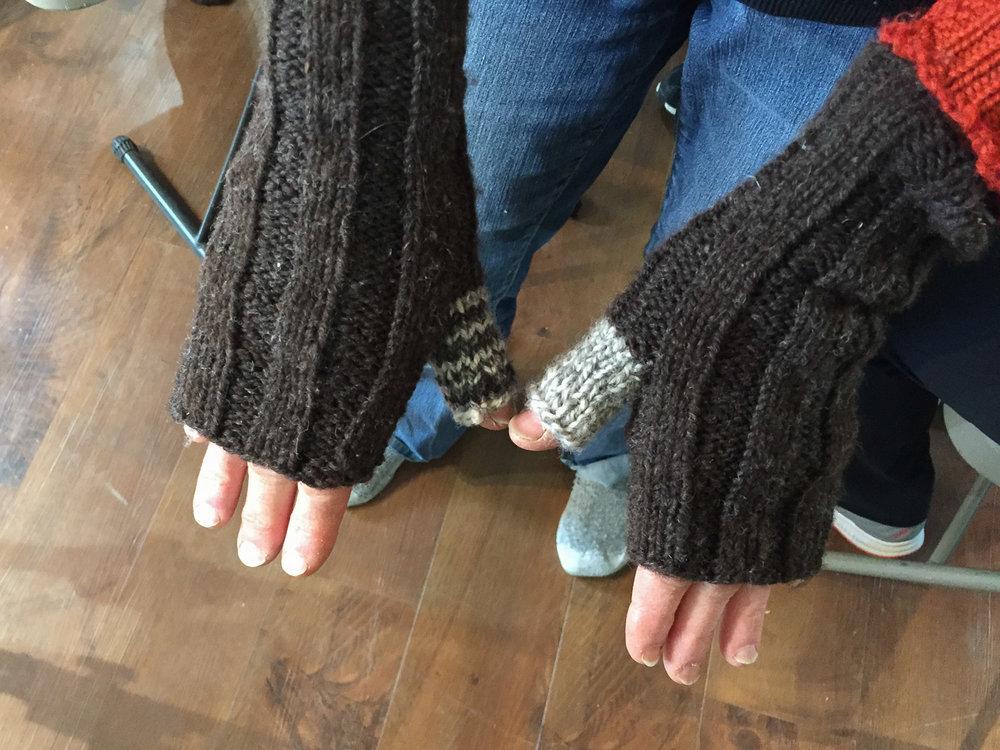 Handknit handwarmers.