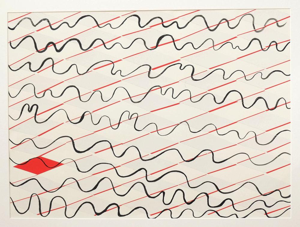 level playing field 2018  78 x 56 cm ink,   warning tape, 300 gsm Bockingford paper