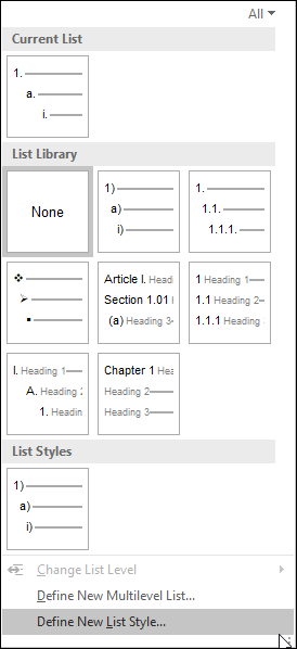 Image of Microsoft Words Style dialogue box.