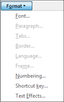 Image of the Format button access extra options in Microsoft Word