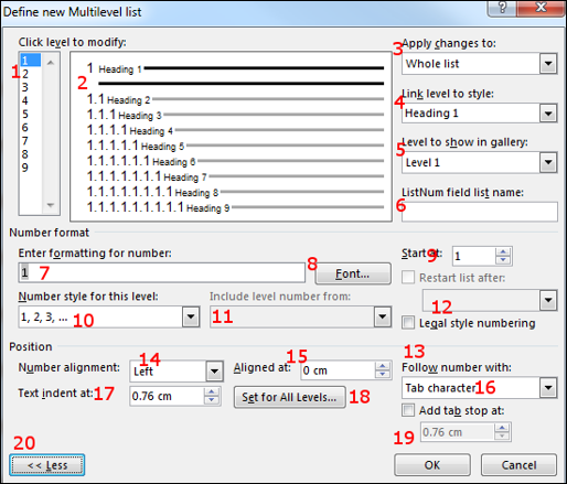 Image of the Define new Multilevel list dialogue box in Microsoft Word
