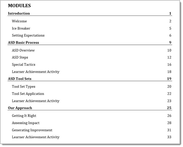 Here is an example of how a Table of Contents might look like when structuring a Facilitator Guide this way.