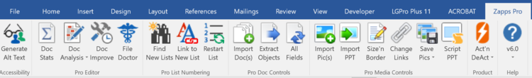 Zapps Pro The Collection Ribbon in Word