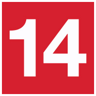 Red number 14 Icon