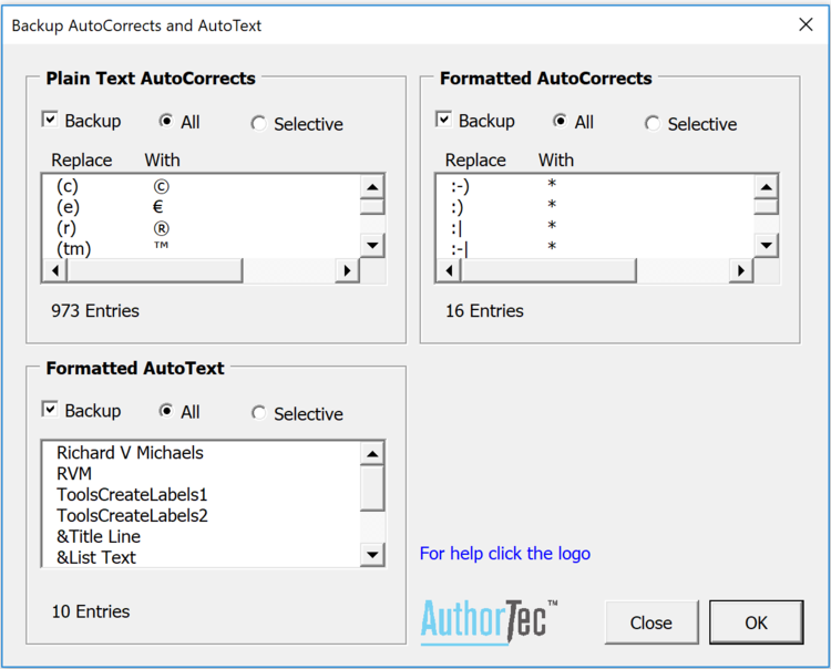 Backup AutoCorrects and AutoText window from AuthorTec AutoCorrect