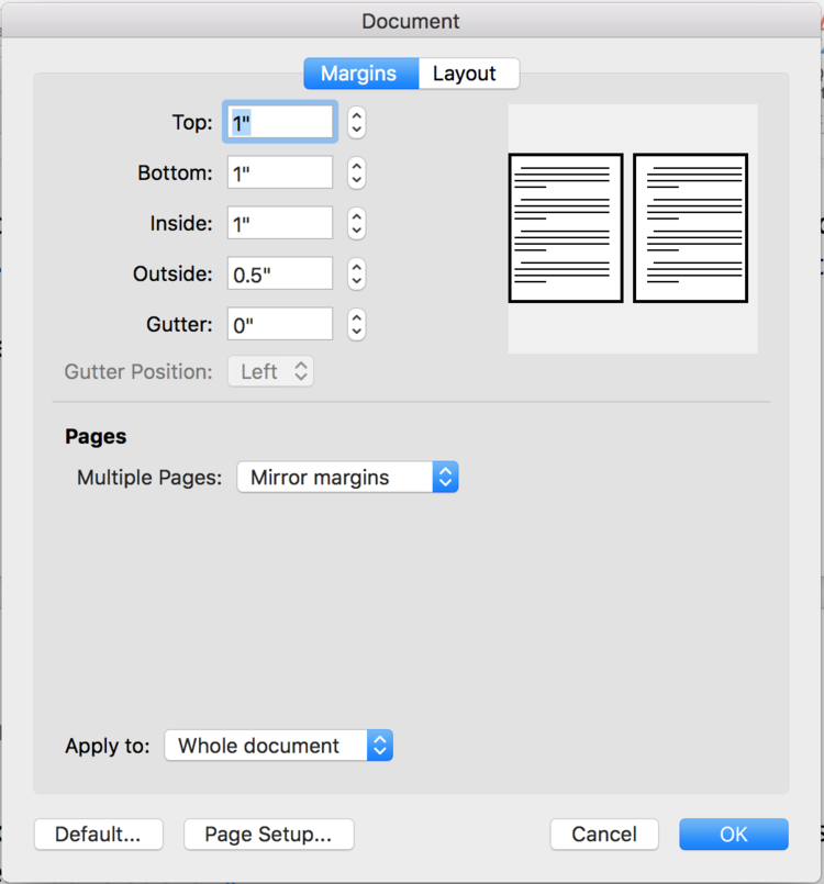Document Layout/Margin dialog box for the Mac