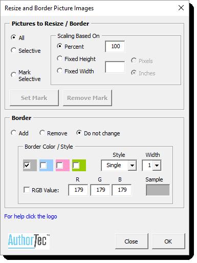 AuthorTec Resize Images Dialog Box