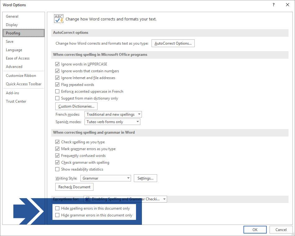 Microsoft Word Options Proofing Dialog Box