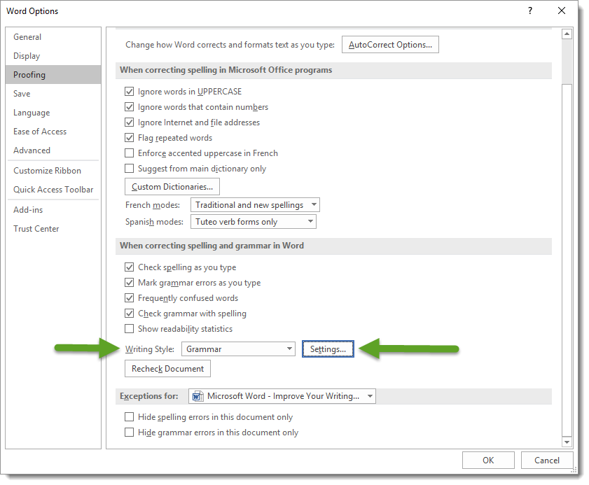 Word Options Proofing Dialog Box