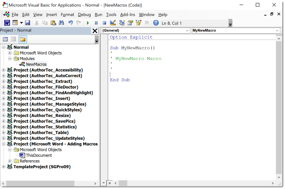 Placeholder for Word's Visual Basic Editor