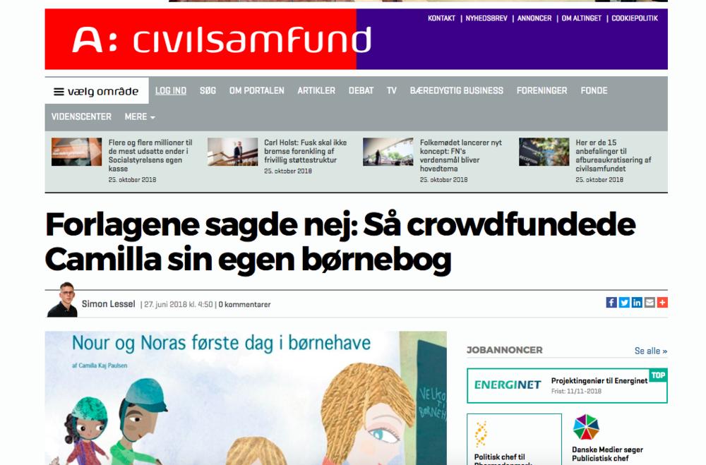 """""""Forlagene sagde nej: Så crowdfundede Camilla sin egen børnebog"""" - Altinget"""