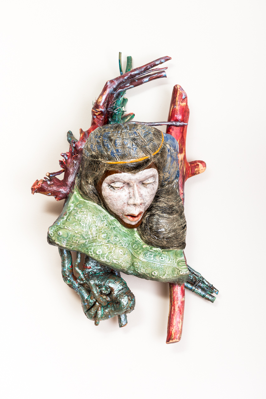 Jeanne D'Arc  2017, ceramic, wood, acrylic, 27x16x11""