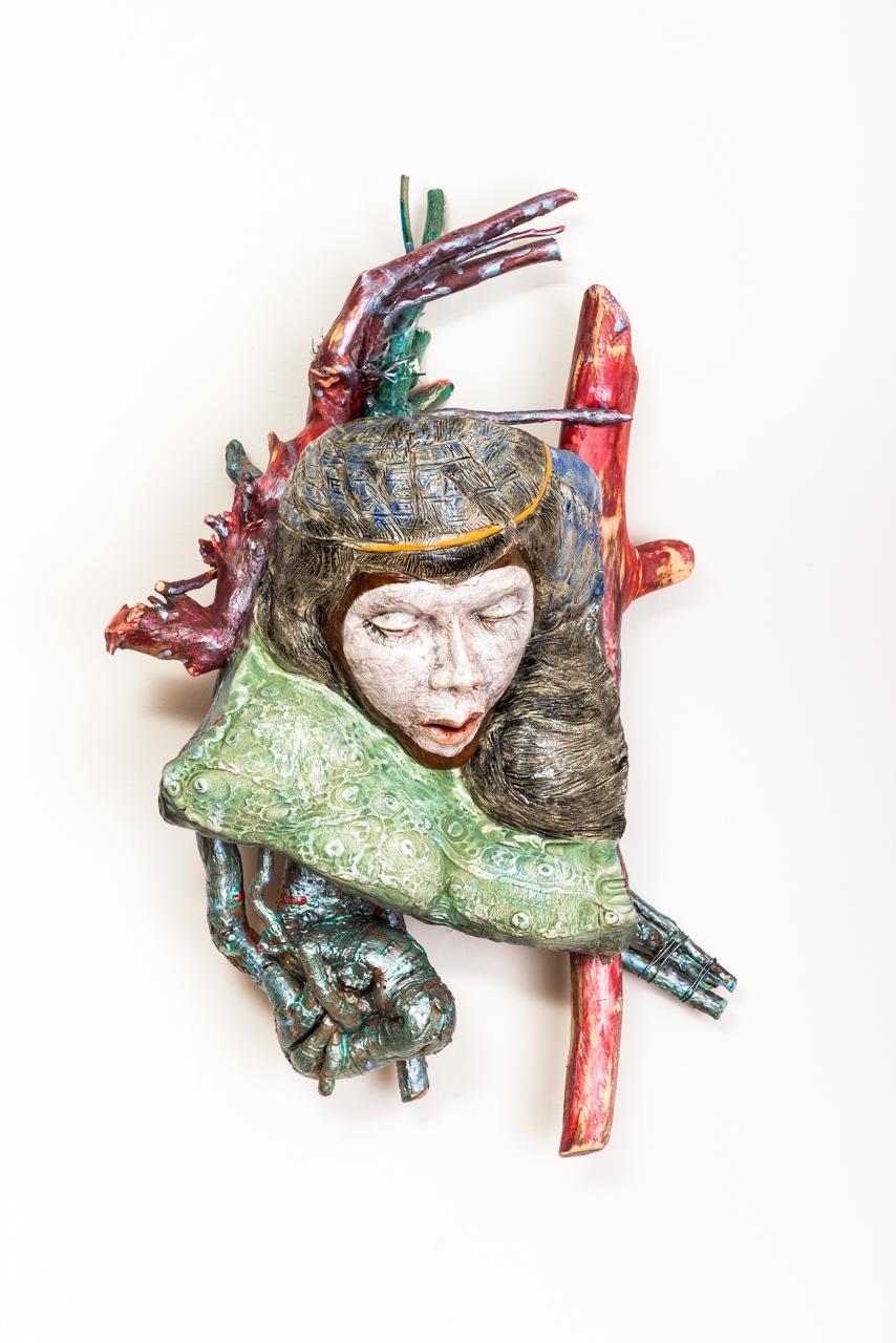 "Jeanne D'Arc  2017, ceramic, wood, acrylic, 27x16x11"""