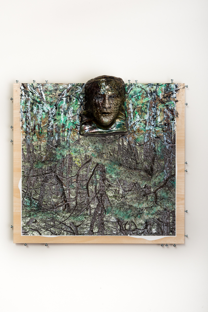 """Whispering Glade  2017, ceramic, wood, steel, acrylic, paper: image by Ellen Fisher, 25x26x6"""""""