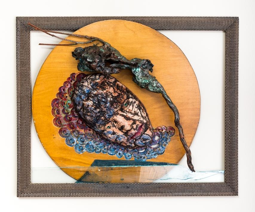 "An Old Woe Returns  Mask in Situ 2017, ceramic, wood, glass, epoxy, acrylic, 26x32x6"""