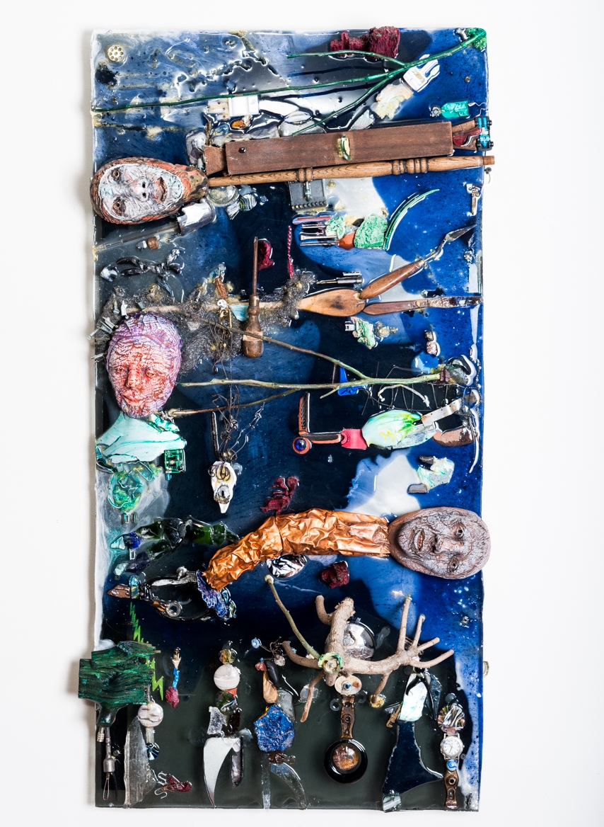 Flux and Flow in Human Soup  Masks in Situ 2016, epoxy, ceramic, wood, copper, found objects and acrylic, 45x24x12""