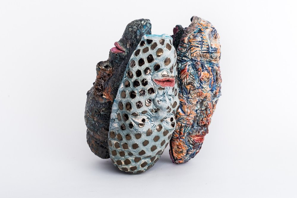 "Dharma Buns  2018, ceramic, wood, acrylic, 16x16x11"""