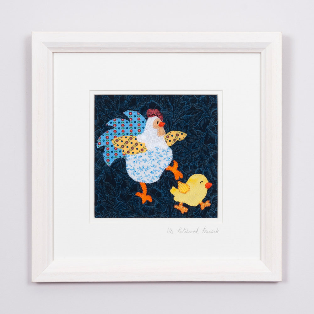 """MAMA HEN & BABY CHICK €35   6""""x6"""" in an 8""""x8"""" frame"""